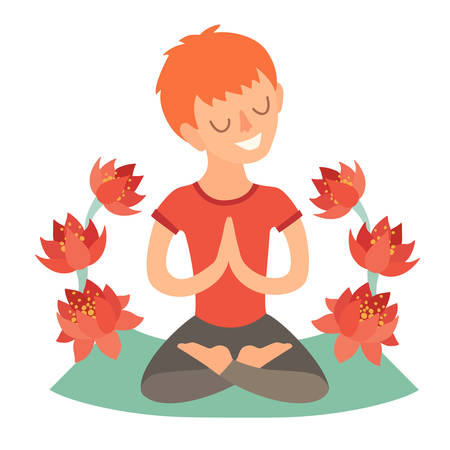 joga: Kid in the lotus position on the mat for yoga. Isolated illustration on the white background. The design concept of yoga, relax, family yoga, happiness, meditation