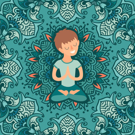 prana: Little boy in the lotus position on the mat for yoga. Vector colored illustration on the mandala background. The design concept of yoga, relax, happiness, meditation, indian, family yoga