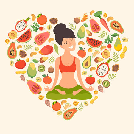 joga: Beautiful girl in the lotus position on the background of the fruit in the form of heart pattern. The design concept of healthy food, vegetarianism, yoga, fitness
