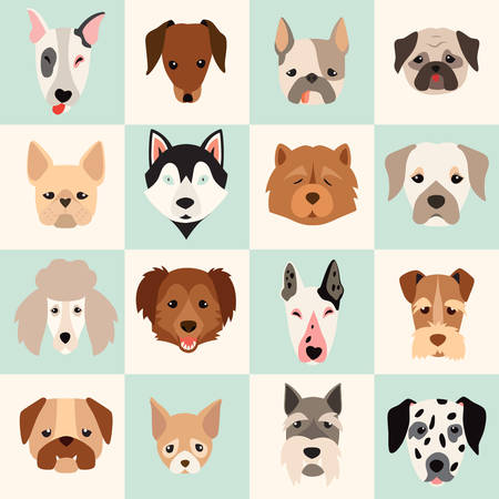 Set of cute dogs icons, vector flat illustrations. Popular dogs breeds, pattern, card, game graphics.