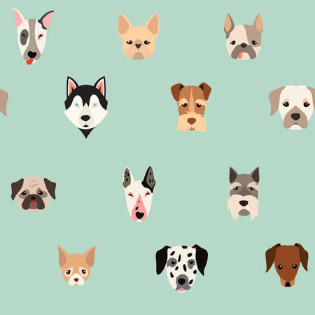 Cute dogs vector pattern, illustrations on colored background