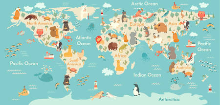 Animals world map. Vector illustration, preschool,  baby,continents, oceans, drawn, Earth.  イラスト・ベクター素材