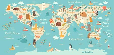 Animals world map. Vector illustration, preschool,  baby,continents, oceans, drawn, Earth. 일러스트