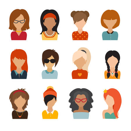 userpic: Circle of flat icons on white background. Woman character, Illustration, vector illustration, web userpic, people avatars