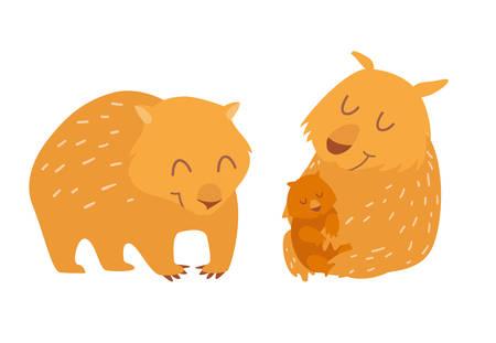 Familia linda wombats. Ilustración vectorial, aislado en el fondo blanco Vectores