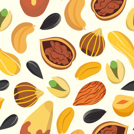 Nuts vector pattern, isolated background