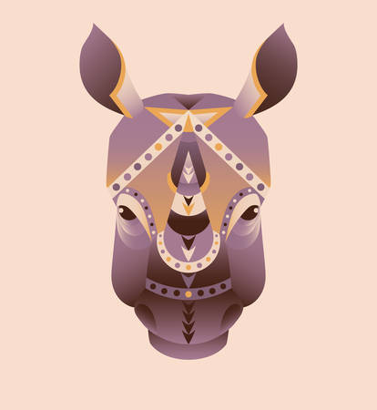 rhino vector: The abstract head of rhino vector illustration, purple and orange colors on ivory background, icon, print, card
