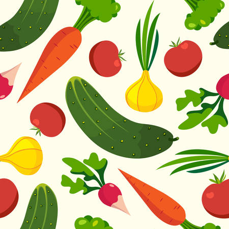Vegetables pattern backgrounds, healthy food, seamless vector wrapping