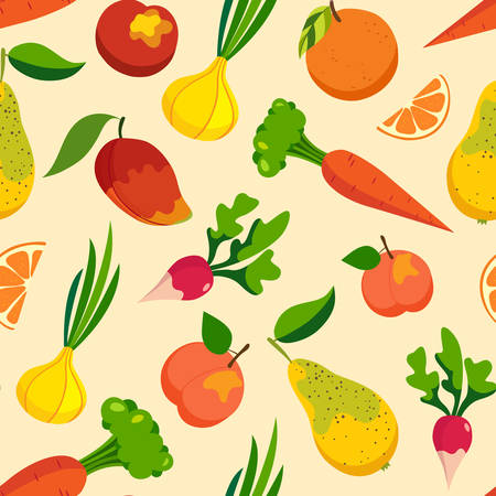 Vegetables & fruit pattern backgrounds, healthy food, seamless vector wrapping