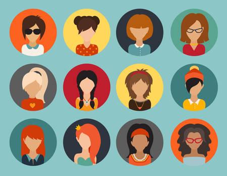 userpic: Circle of flat icons. Woman, vector illustration, web userpic
