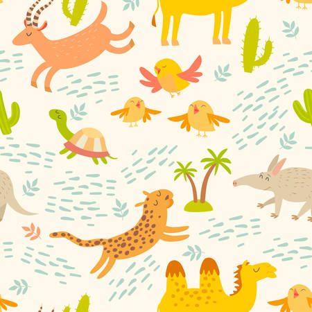 Cartoon african animals seamless pattern. Cute leopard, aardvark, camel, antelope, birds, turtle. Children's wallpapers