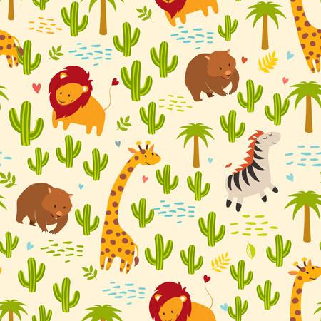 wombat: Animales vector de fondo sin fisuras. Jirafa, cebra, wombat y cactus, palmeras. Los niños, de impresión, divertido Vectores
