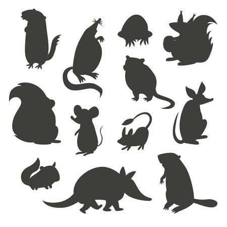 battleship: Set of rodent  gray silhouettes. Vector illustration, isolated on a white background. Beaver, weasel, squirrel, muskrat, tarbaganchik, muskrat, Battleship, bandicoot