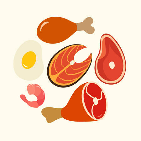 protein food: Healthy food, protein. Foods flat vector set, Illustration