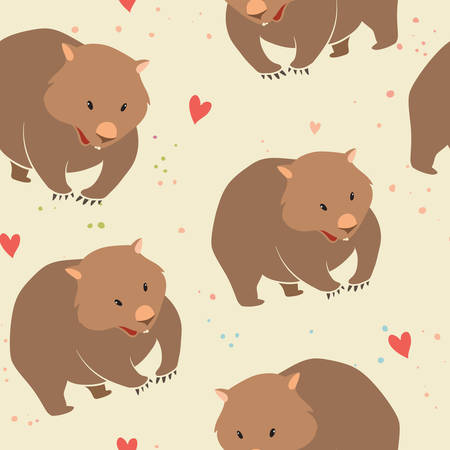 Wombat, isolated vector pattern on a light background Illustration