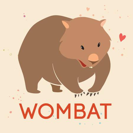 Cute Wombat, vector aislado en un fondo claro