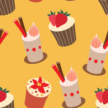 Yummy cake illustrations, vector pattern.