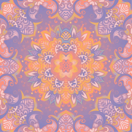Beautiful delicate mandala. Vector pastel color background. The design concept of yoga, relax, happiness, meditation, indian, prana Illustration