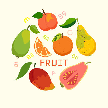 cellulose: Healthy food, fruits, cellulose, vitamins. Vector illustration