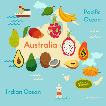 Fruit world map, Australia. Vector illustration, preschool, baby, continents, oceans, drawn, Earth.