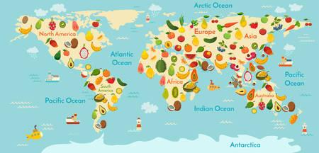フルーツの世界地図。野菜。ベクトル図、幼稚園、赤ちゃん、大陸、海洋、描画、地球。  イラスト・ベクター素材