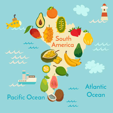 Fruit world map, South America. Vector illustration, preschool, baby, continents, oceans, drawn, Earth. Illustration