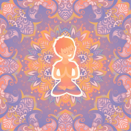 Little boy in the lotus position on the mat for yoga. Vector pastel color illustration on the mandala background. The design concept of yoga, relax, happiness, meditation, indian, family yoga Illustration