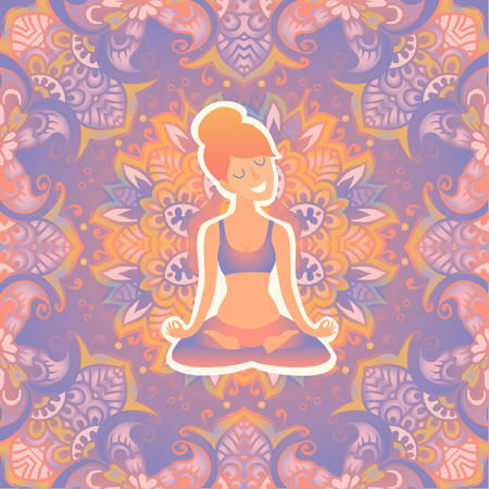 Beautiful girl in the lotus position on the mat for yoga. Vector pastel color illustration on the mandala background. The design concept of yoga, relax, happiness, meditation, indian Illustration