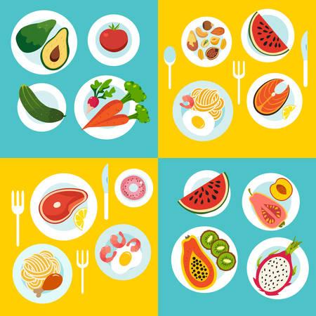 Gezonde voedselreeks, groenten, fruit, maaltijd op de lijst. Cartoon platte stijl. Vector illustratie