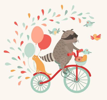 procione carino su una bicicletta con un gatto, uccelli, palloncini e gocce. Viaggio, viaggio. Illustrazione vettoriale. Stampa sul tessuto, un poster sul muro, un invito per bambini o quant'altro