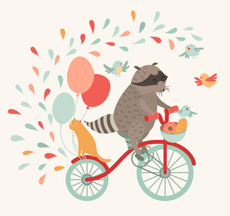 Cute raccoon on a bicycle with a cat, birds, balloons and drops. Trip, journey. Vector illustration. Print on the fabric, a poster on the wall, an invitation for children or anything else