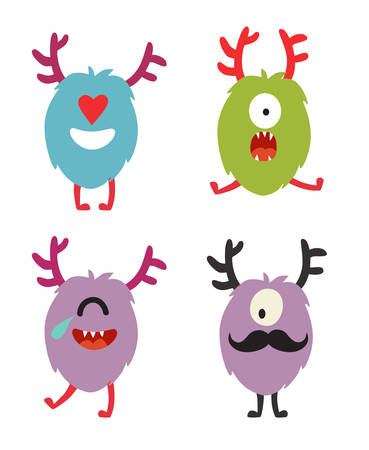 Emoji monsters. Cute cyclops vector set. Cartoon  funny emoticons. Monsters stickers, flat cartoon style. Isolated on white background Illustration