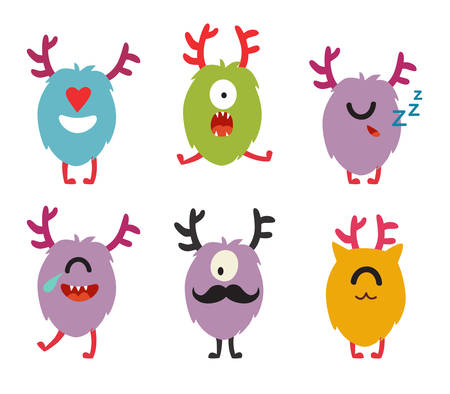 alien face: Emoji monsters. Cute cyclops vector set. Cartoon  funny emoticons. Monsters stickers, flat cartoon style. Isolated on white background Illustration