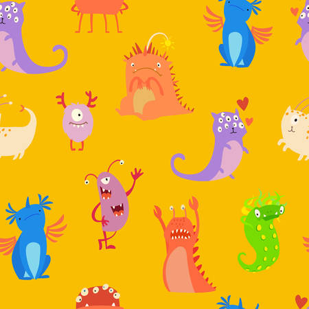 Monsters seamless pattern vector illustration. Doodle pattern with happy cheerful creature cyclops. Vivid fabulous incredible creatures. Monsters with lot of eyes and wings 版權商用圖片 - 71669608
