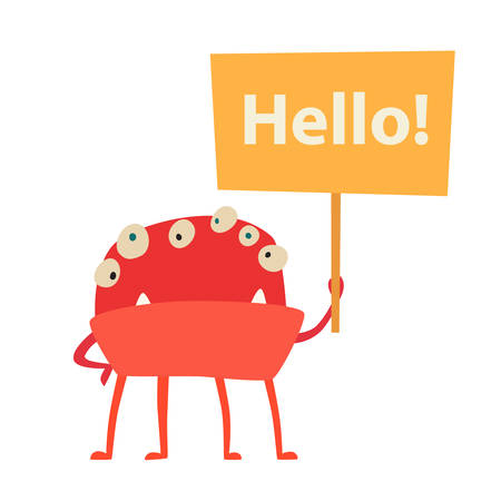 Monster vector. Kids cartoon toy, colorful cute character. Vivid fabulous incredible creatures. Monsters with lot of eyes and hello sign. Happy cheerful creature cyclops. Isolated on white background