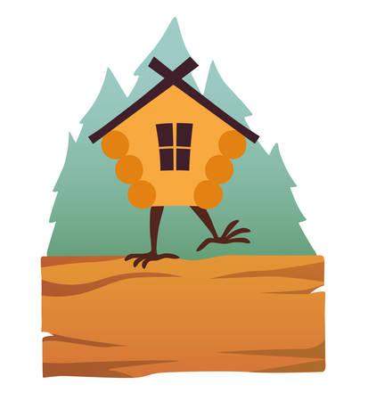 Hut in forest vector logo. Cartoon old house on chicken legs with window, baba yaga home. Fairy magic village is on the board. Symbol of fairytale forest, isolated on white background illustration