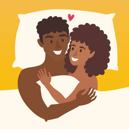 love couples: Couple in bed vector. Happy family couple illustration. African american woman and african-american man intermarriage. Lovers couple in bed. Relationship sensual concept. Sexy man and woman in bedroom