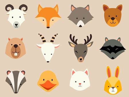 Cute animals icons set. Cat and wolf head, rabbit logo. Cartoon raccon card. Vector flat illustration isolated on ivory background Ilustração