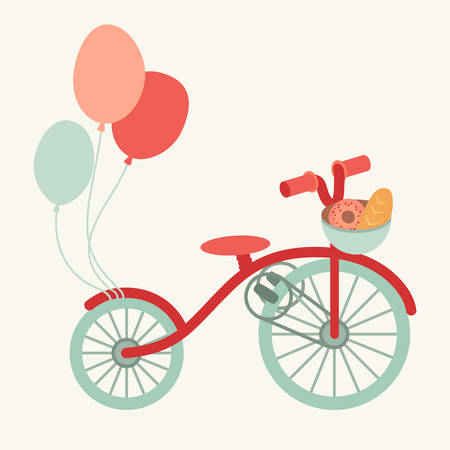 Retro bike cartoon illustration with a basket of bread, healthy activity. Transport with balloons. Vector flat isolated on white background