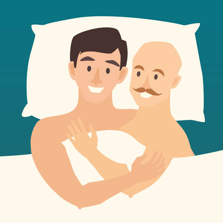 Gay couple in bed. Happy gay couple vector illustration. Lovers gay couple in bed. Gay in bedroom. Relationship sensual concept. Sexy gay