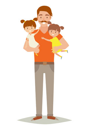 Single father with two young daughters. Happy family young group: little baby, sisters and father. Father holding baby in arms. Cartoon character twins.Flat style vector illustration isolated on white