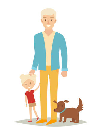 Single father with young daughter and dog. Happy family young group: little baby and father. Cartoon character people. Flat style vector illustration isolated on white background Illustration