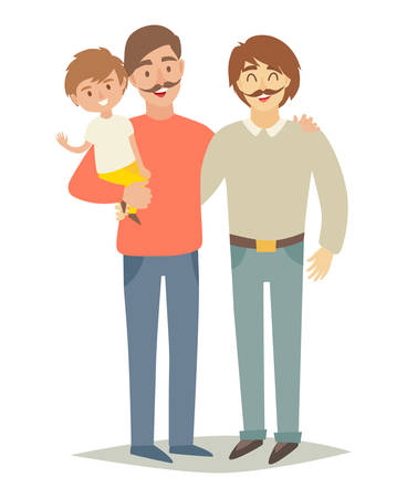 Gay family with adopted child. Two father's and son, parents couple. Family lifestyle. Happy little baby on man's hands. Vector illustration isolated on white background