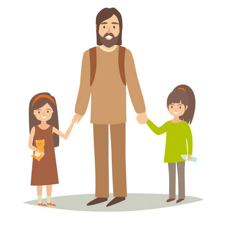 Single father with two young daughter. Happy hipster family young group: little sisters and father. Cartoon character people. Flat style vector illustration isolated on white background