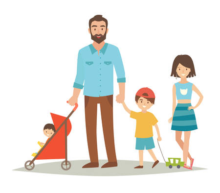 Single father with three young children. Happy family young group: sister, brother, baby in stroller and father. Cartoon character people. Flat style vector illustration isolated on white background