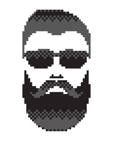 mustached: Bearded mans face with mustache. Mustached men portrait, black color. Pixel art in vector graphics, isolated on white background Illustration