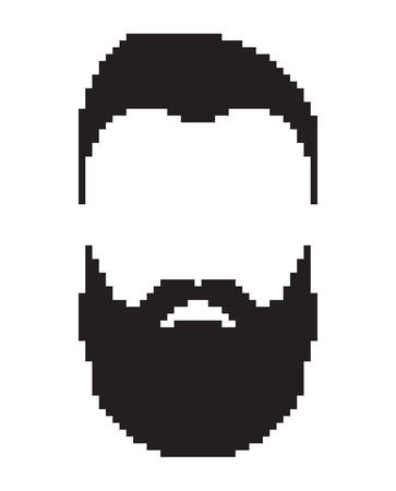 Contour men face. Bearded and mustache man's portrait, black color. Barbershop logo. Pixel art in vector graphics, isolated on white background