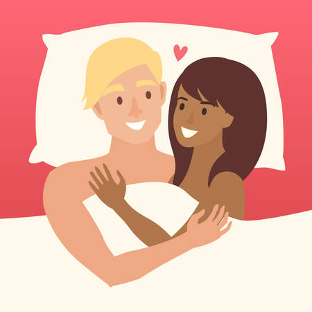 intermarriage: Couple in bed vector. Happy family couple illustration. African american woman and white man intermarriage. Lovers couple in bed. Relationship sensual concept. Sexy man and woman in bedroom