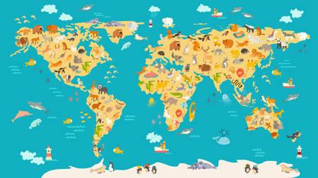 子供のための動物の地図。子供、かわいいイラストの世界ベクトルのポスター。就学前漫画動物とグローブ。海洋と大陸: 南アメリカ、ユーラシア、