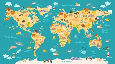 Animal map for kid. World vector poster for children, cute illustrated. Preschool cartoon globe with animals. Oceans and continent: South America,Eurasia,North America,Africa, Australia.Baby world map